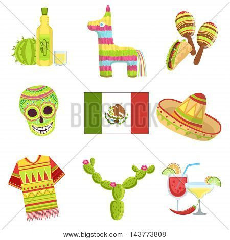 Mexican National Symbols Set Of Items. Isolated Objects Representing Mexico On White Background