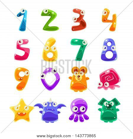 Digit Shaped Animals And Jelly Creatures Set Of Bright Glossy Drawings In Fantastic Childish Style On White Background