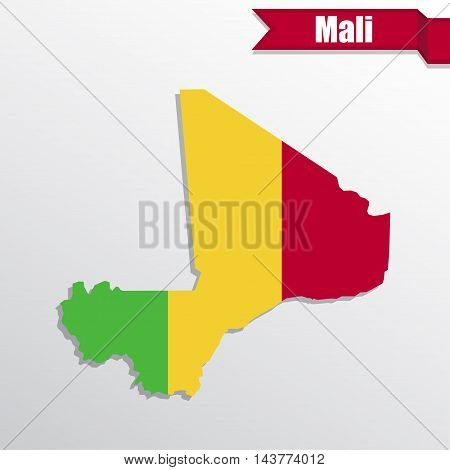 Mali map with flag inside and ribbon