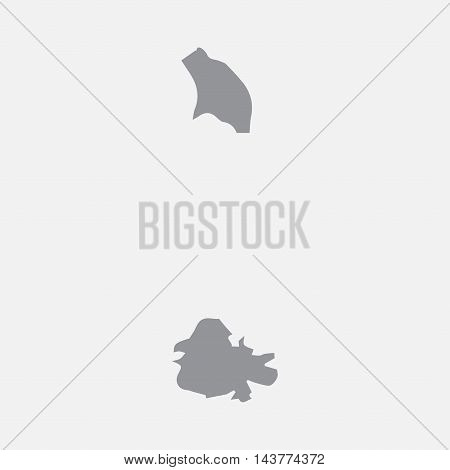 Antigua and Barbuda map in gray on a white background
