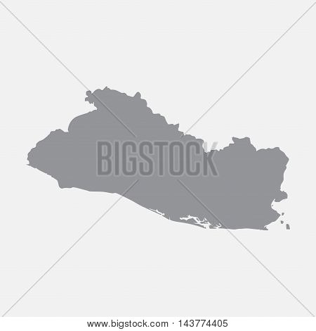 El Salvador map in gray on a white background