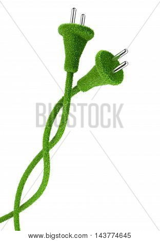 Grass covered electrical two plug and cord. 3d eco conceptual image. Alternative a net energy.