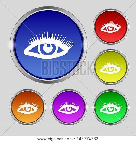 Eyelashes Icon Sign. Round Symbol On Bright Colourful Buttons. Vector