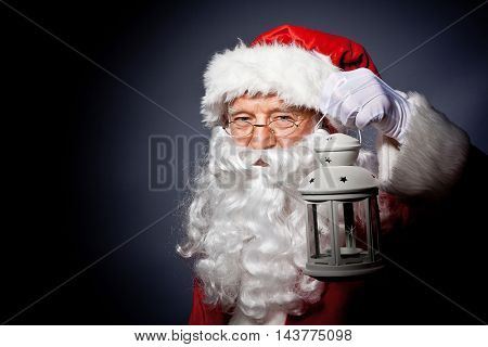 santa claus classic portrait on gray background