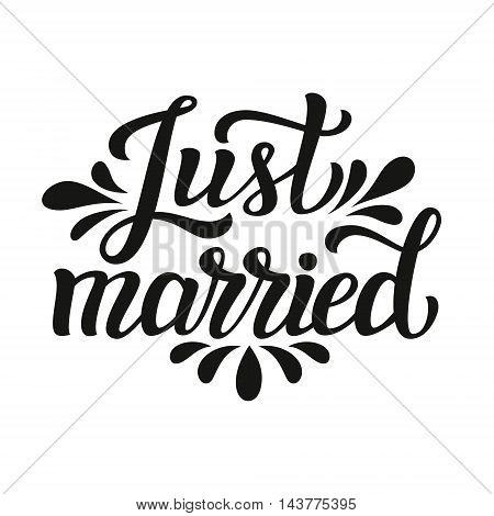 Just Married. Typography Wedding Template