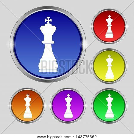 Chess King Icon Sign. Round Symbol On Bright Colourful Buttons. Vector