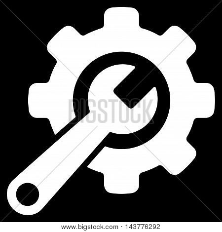 Tools icon. Vector style is flat iconic symbol with rounded angles, white color, black background.