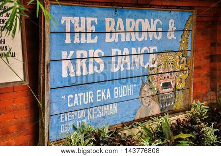 Bali,Indonesia-May 29,2010:Entrance to the hall of Barong dance on 29th May 2010 in Bali, Indonesia.Barong is a religious dance in Bali based on the great Hindi epics of Ramayana.