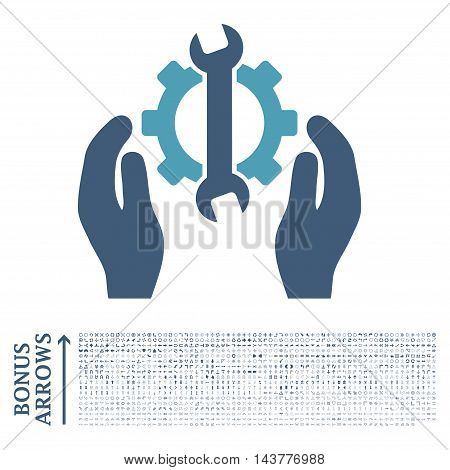 Repair Service icon with 1200 bonus arrow and direction pictograms. Vector illustration style is flat iconic bicolor symbols, cyan and blue colors, white background.