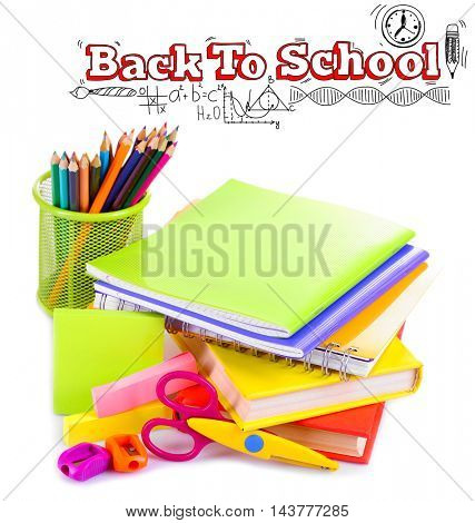 Stack of books and notebooks with colorful stationery on white background. School concept. Text back to school.