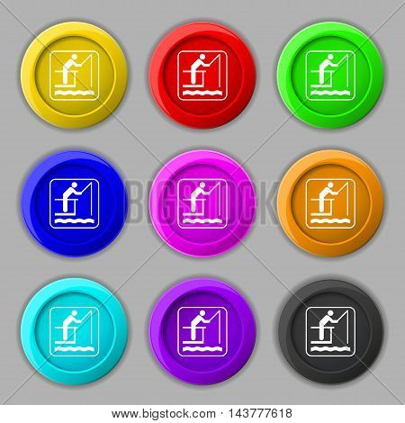 Fishing Icon Sign. Symbol On Nine Round Colourful Buttons. Vector