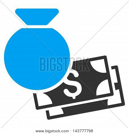Money Bag icon. Vector style is bicolor flat iconic symbol with rounded angles, blue and gray colors, white background.