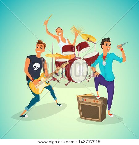Rock band concer. Group creative young people playing instruments impressive performance. Cartoon vector illustration.