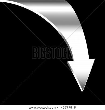 White arrow and neutral black background. Business concept