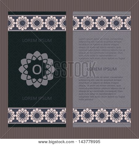 Set of two vector cards. Greek design vector template. Booklet concept.