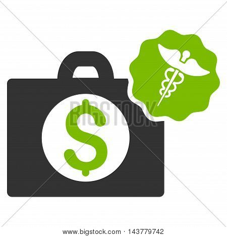 Medical Business icon. Vector style is bicolor flat iconic symbol with rounded angles, eco green and gray colors, white background.
