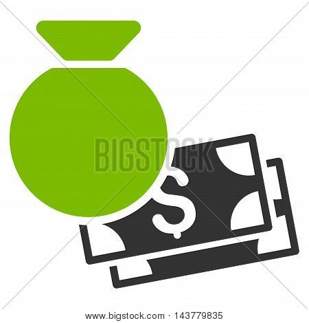 Money Bag icon. Vector style is bicolor flat iconic symbol with rounded angles, eco green and gray colors, white background.