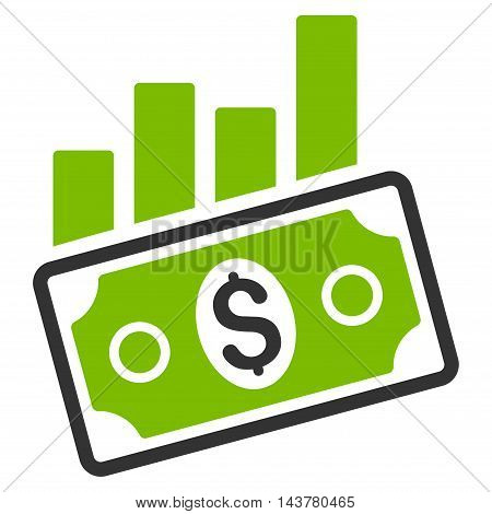 Sales Bar Chart icon. Vector style is bicolor flat iconic symbol with rounded angles, eco green and gray colors, white background.