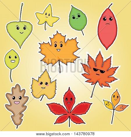 funny autumn leaves, illustration for kids, leaf set, autumn leaves, leaves with face, autumn illustration, autumn characters, leaves characters