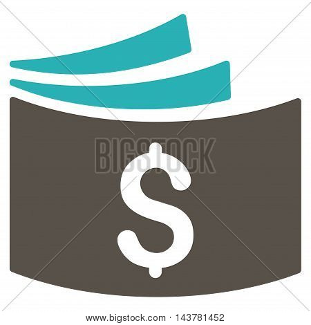 Checkbook icon. Vector style is bicolor flat iconic symbol with rounded angles, grey and cyan colors, white background.