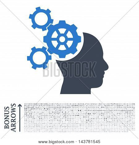 Brain Mechanics icon with 1200 bonus arrow and navigation pictograms. Vector illustration style is flat iconic bicolor symbols, smooth blue colors, white background.