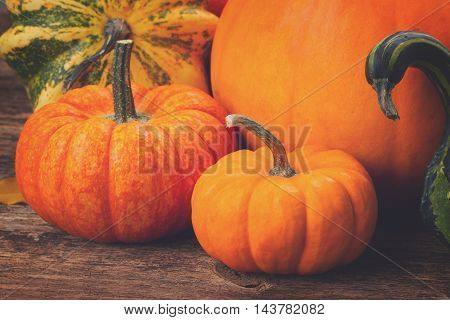 pile of orange pumpkins with fall leaves on wooden textured table, retro toned