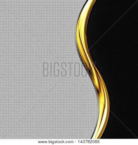 black and white carbon fiber and gold curve chromium frame. metal background. material design. 3d illustration.