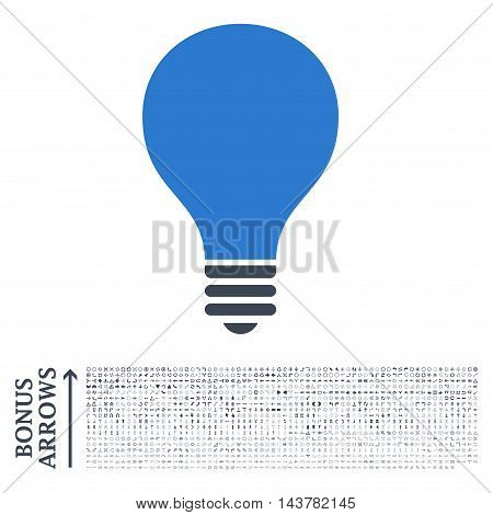 Bulb icon with 1200 bonus arrow and navigation pictograms. Vector illustration style is flat iconic bicolor symbols, smooth blue colors, white background.