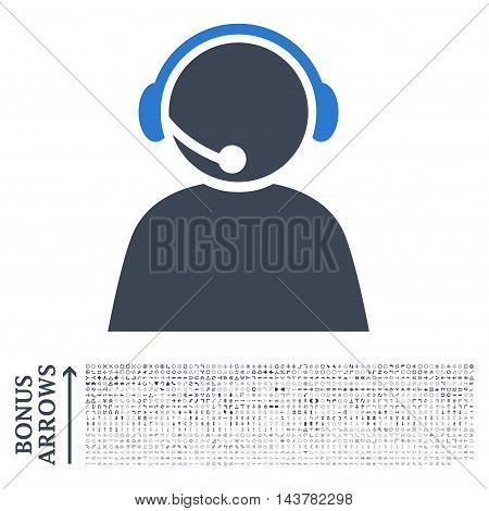 Call Center Operator icon with 1200 bonus arrow and direction pictograms. Vector illustration style is flat iconic bicolor symbols, smooth blue colors, white background.