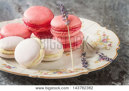 Traditional French Sweets. Assorted Pink, White Macaroon With Dr