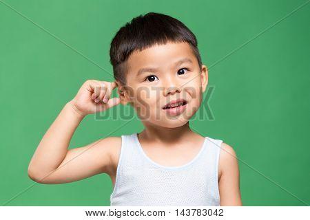 Asian Little boy feeling wondering