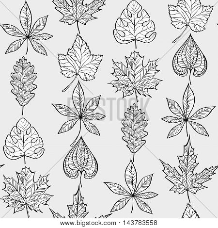 Vector Seamless Fabric Pattern with Fall Different Leaves