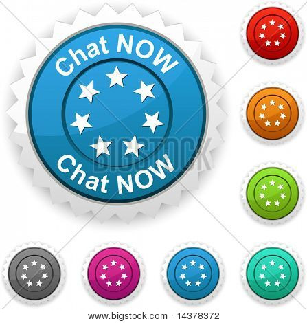 Chat now award button. Vector.