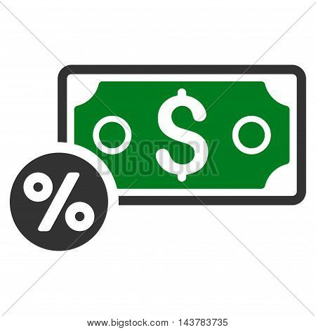 Banknote Percent icon. Vector style is bicolor flat iconic symbol with rounded angles, green and gray colors, white background.