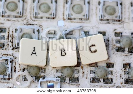 A close view of some keys on a dirty yellowed keyboard.letters ab and c