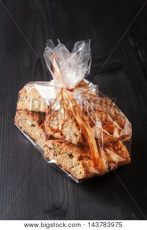 Traditional Italian Food. Sweet Biscuits Cantuccini With Almonds