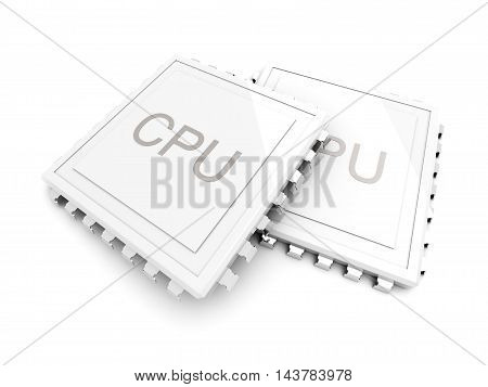 3D rendered Illustration. Image of Two CPUs.