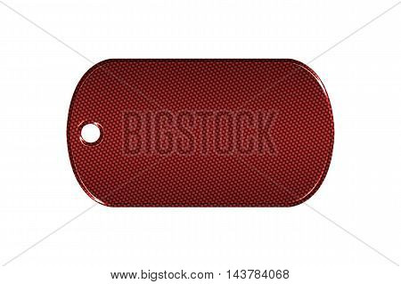 red carbon fiber dog tag on isolated white background. 3d illustration.