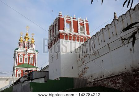 Novodevichy convent in Moscow. UNESCO World Heritage Site. Color photo, no people.