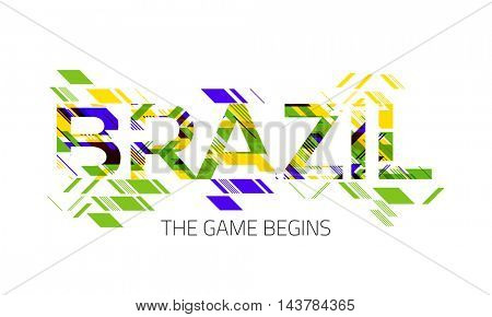 Creative Colorful Text brazil on white background, Can be used as Poster, Banner or Flyer design for Sports concept.