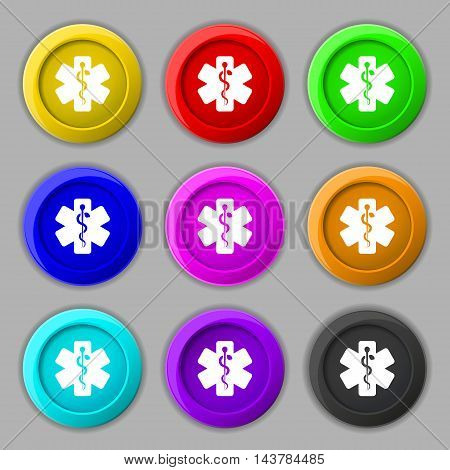 Medicine Icon Sign. Symbol On Nine Round Colourful Buttons. Vector