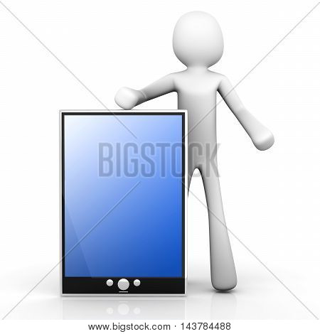 A cartoon character holding a tablet pc.