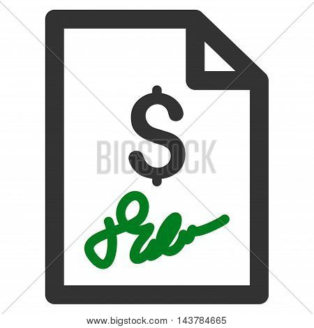 Invoice Page icon. Vector style is bicolor flat iconic symbol with rounded angles, green and gray colors, white background.