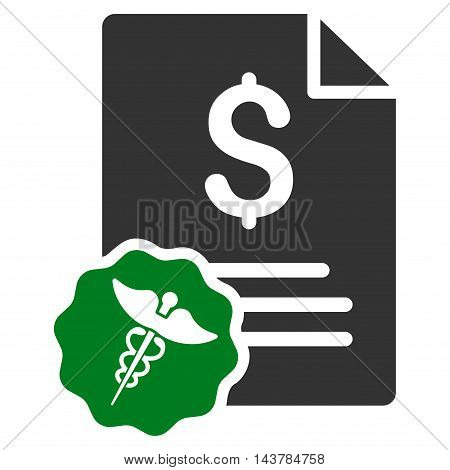 Medical Invoice icon. Vector style is bicolor flat iconic symbol with rounded angles, green and gray colors, white background.