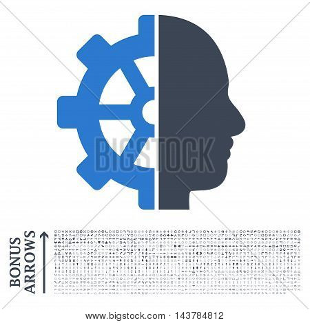 Cyborg Gear icon with 1200 bonus arrow and direction pictograms. Vector illustration style is flat iconic bicolor symbols, smooth blue colors, white background.