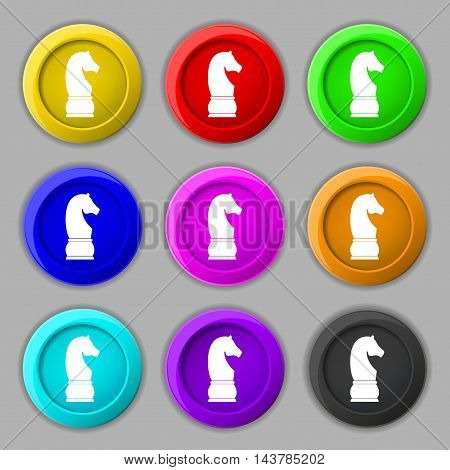 Chess Knight Icon Sign. Symbol On Nine Round Colourful Buttons. Vector