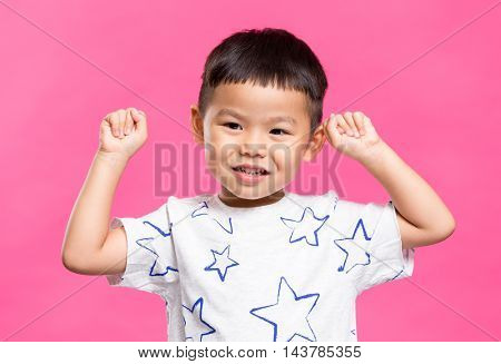 Little boy feeling excited