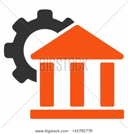 Bank Settings icon. Vector style is bicolor flat iconic symbol with rounded angles, orange and gray colors, white background.