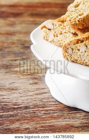Traditional Italian Food. Sweet Cantuccini Cookies With Almonds