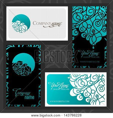 Colorful decorative design of business card with swirling waves. Two different patterns with logo